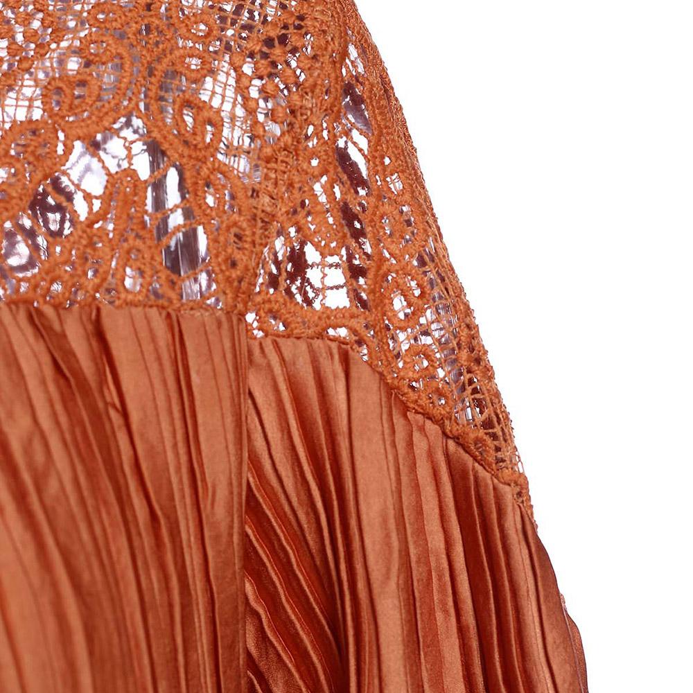 Crochet Panel Long Sleeve Maxi Dress