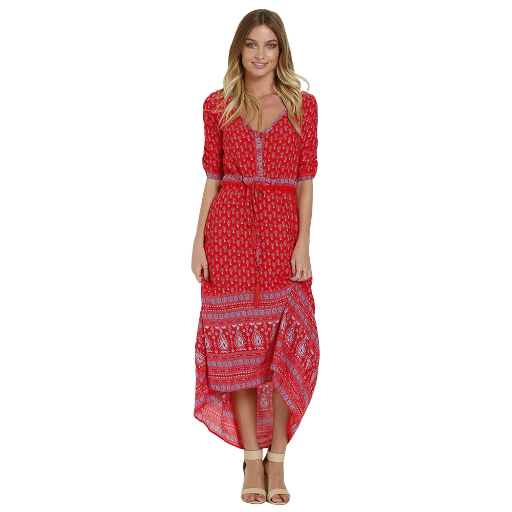 V Collar 3/4 Sleeve Ethnic Print Maxi Dress