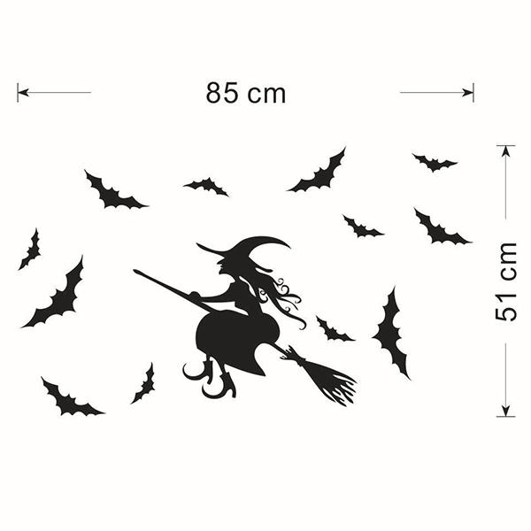 Waterproof Happy Halloween Witch Bats Room Wall Sticker