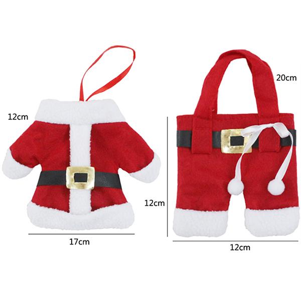 Christmas Table Decor Santa Pants Tableware Holder Bag
