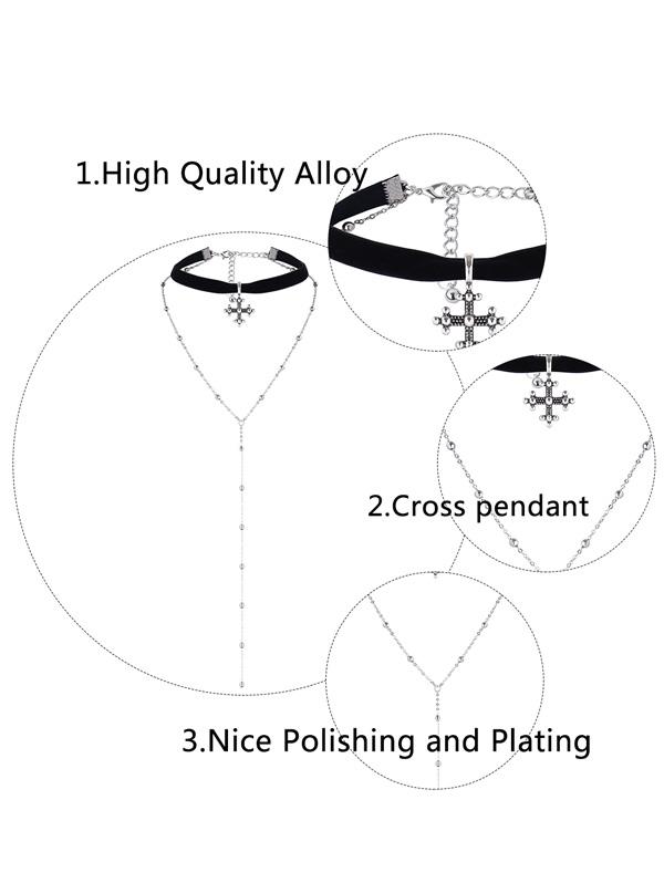 Layer Alloy Long Beaded Cross Choker Collarlace