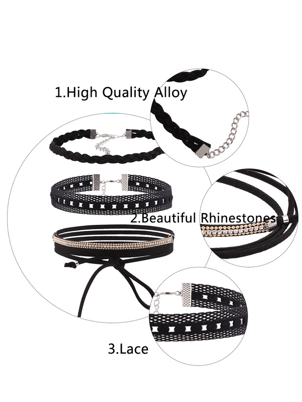 Faux Leather Velvet Rhinestone Choker Collarlace Set