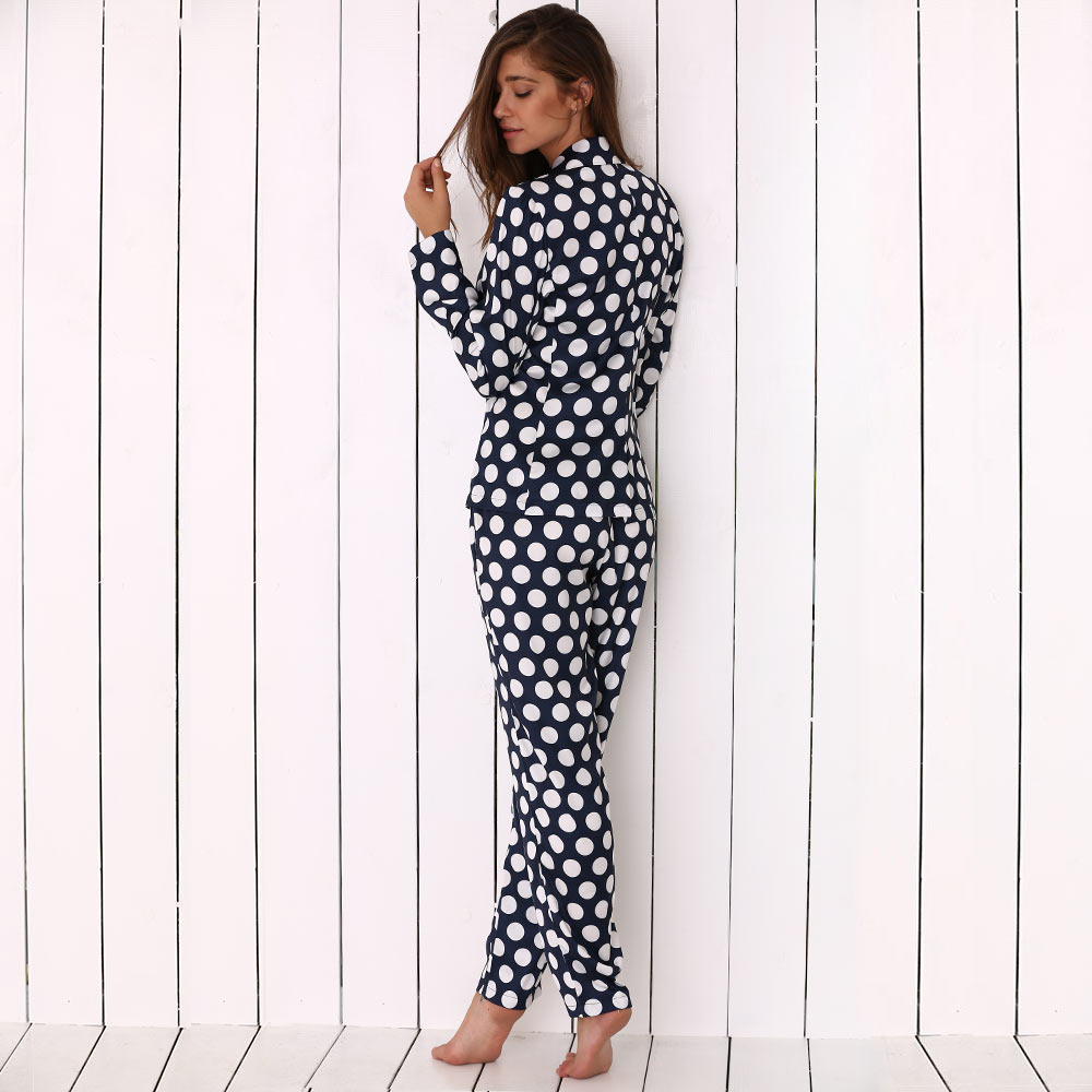 Turn Down Collar Allover Polka Dot Print Soft Women Pajama